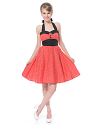 Women's Rockabilly Vintage Dress Black Neckline Mini Polka Dot Halter Knee-length Sleeveless Cotton All Seasons Mid Rise