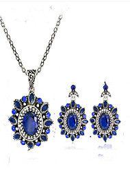 cheap -Women's Bridal Jewelry Sets Synthetic Sapphire Vintage Euramerican Party Event/Party Dailywear Silver Plated Alloy Flower