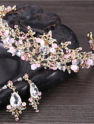 cheap -Women's Crystal Jewelry Set - Flower Basic, Natural Include Tiaras White / Pink For Wedding / Anniversary / Event / Party / Engagement