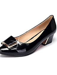 Feminino Saltos Conforto Sapatos formais Couro Primavera Outono Conforto Sapatos formais Salto Grosso Preto Amêndoa 7,5 a 9,5 cm