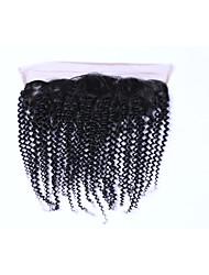 Недорогие -популярный&Мода класс 8a натуральный черный бразильский кудрявый кудрявый remy человеческих волос закрытие бесплатно часть 13 * 4 ухо
