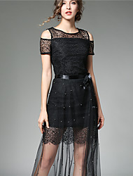 Women's Party Going out Casual/Daily Sexy Simple Street chic Lace Dress,Solid Round Neck Midi Sleeveless Lace Summer Fall High Rise
