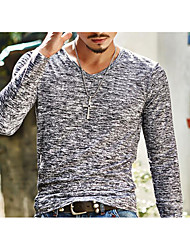 cheap -Men's Daily Going out Casual Spring Fall T-shirt,Print V Neck Long Sleeves Polyester