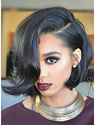 cheap -Cheap 130% Density Short Bob Full Lace Wigs with Baby Hair Brazilian 8''-12'' Glueless Full Lace Human Hair Lace Wigs 100% Human Hair Natural Hairline