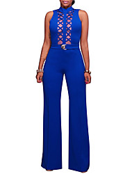 Women's Daily Going out Club Casual Sexy Street chic Solid Color Fashion Hollow Crew Neck Jumpsuits,Bodycon Sleeveless Spring Summer