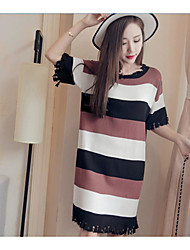Women's Sports Going out Casual/Daily Simple Cute Street chic Loose Shift Dress,Striped Textured Sexy Round Neck Above Knee Short Sleeve