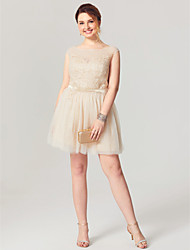 A-Line Scoop Neck Short / Mini Tulle Cocktail Party Homecoming Dress with Appliques Sash / Ribbon by TS Couture®