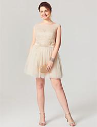 Linea-A Corto / mini Tulle Cocktail Rimpatriata di classe Vestito con Con applique Fascia / fiocco in vita di TS Couture®