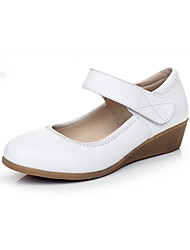 cheap -Women's Heels Formal Shoes Spring Fall Real Leather Office & Career Magic Tape Wedge Heel White Black 1in-1 3/4in