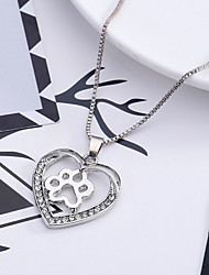 cheap -Women's Heart Rhinestone Pendant Necklace - Love Heart Necklace For Wedding Party Special Occasion Anniversary Birthday