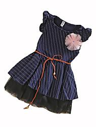 cheap -Girl's Polka Dot Dress, Cotton Summer Sleeveless Dot Navy Blue