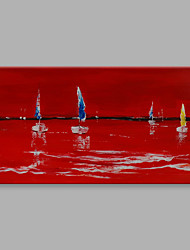IARTS® Hand Painted Modern Abstract Summer Ocean Sailing in Bright Red ColorOn Canvas with Stretched Frame Wall Art For Home Decoration  Ready To Hang