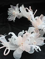 economico -lo stile elegante del copricapo della clip dei capelli dei fiori della rete di seta della piuma del pizzo del pizzo di Tulle