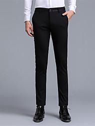 Hombre Sencillo Tiro Medio strenchy Traje Chinos Pantalones,Delgado Un Color Letra y Número Color puro