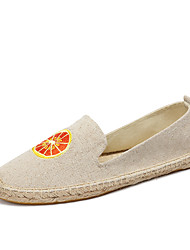 cheap -Women's Loafers & Slip-Ons Moccasin Espadrilles Light Soles Summer Fall Cotton Linen Casual Party & Evening Office & Career Applique Gore