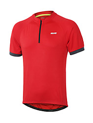 Arsuxeo Cycling Jersey Men's Short Sleeves Bike Jersey Quick Dry Front Zipper Reflective Trim/Fluorescence Held-In Sensation Polyester