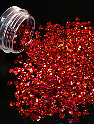 cheap -1g/bottle Hot Fashion 3D Glitter Sequins Laser Beautiful Red Shining Heart Shape Design Flash Paillette Nail Salon DIY Beautiful Decoration 1200W