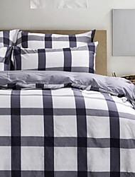 cheap -Plaid/Checkered 4 Piece Cotton Cotton 1pc Duvet Cover 2pcs Shams 1pc Flat Sheet
