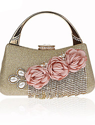 cheap -Women's Bags Polyester Evening Bag Rhinestone Beading Pearl Detailing Flower Tassel for Event/Party All Seasons Champagne Gold Black