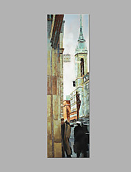 cheap -IARTS® Modern Abstract Oil Painting European Street View Picture with Stretched Frame Handmade Oil Painting For Home Decoration Ready To Hang