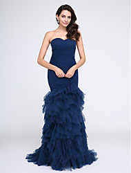 cheap -Fit & Flare Sweetheart Sweep / Brush Train Tulle Prom / Formal Evening Dress with Ruched Criss Cross by TS Couture®
