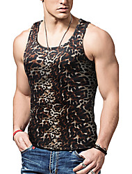 Men's Sports Casual/Daily Simple Active Tank Top,Leopard Print Round Neck Sleeveless Polyester