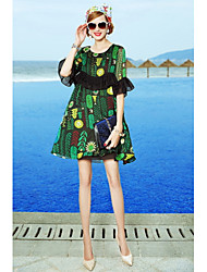 Women's Holiday Going out Casual/Daily Beach Cute Lace Swing Dress,Floral Print Round Neck Above Knee Half Sleeves Cotton Polyester
