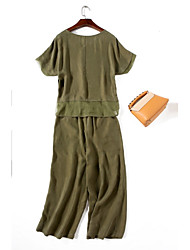 Χαμηλού Κόστους WHALE STUDIO-Γυναικεία Φυλαχτό Καθημερινό T-shirt - Μονόχρωμο, Αγνό Χρώμα Παντελόνι