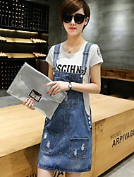 cheap -Women's Daily Cute Denim Dress,Solid Round Neck Knee-length Short Sleeves Cotton Spring Mid Rise Micro-elastic Thin