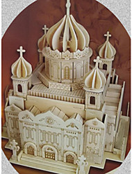 cheap -3D Puzzles Jigsaw Puzzle Wood Model Model Building Kit Church Architecture Cathedral of Christ the Saviour 3D Simulation DIY Wooden Wood