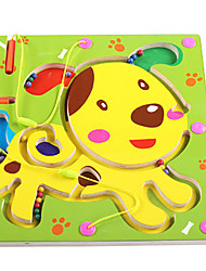 cheap -Chess Game Maze & Sequential Puzzles Maze Magnetic Maze Toys Flat Shape Dog Wood Iron Cartoon 1 Pieces Kids Christmas Children's Day Gift