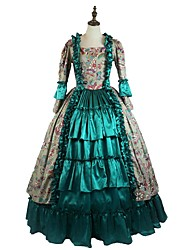 cheap -Victorian Rococo Costume Women's Girls' Party Costume Green Vintage Cosplay Padded Fabric Taffeta Long Sleeves Ankle Length