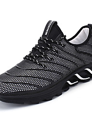cheap -Men's Athletic Shoes Comfort Spring Fall PU Running Shoes Outdoor Flat Heel White Black Ruby Black/Red Flat