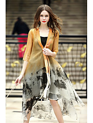 Women's Holiday Going out Casual/Daily Plus Size Chinoiserie Spring Summer Cloak/Capes,Print Shawl Lapel Half Sleeves Long Silk