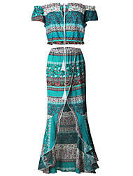 cheap -Women's Holiday Going out Beach Vintage Spring Summer T-shirt Skirt Suits,Floral Sexy Boat Neck Short Sleeve Backless Tassel Split