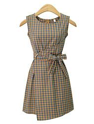 cheap -Women's Daily Vintage Street chic Sheath Dress,Plaid/Check Round Neck Asymmetrical Sleeveless Cotton Summer Mid Rise Micro-elastic Medium