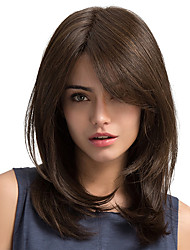 cheap -Synthetic Wig Straight Side Part With Bangs Brown Women's Capless Carnival Wig Halloween Wig Natural Wigs Long Synthetic Hair Daily