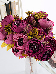 Peony Flower Simulation Flower Suit European-style Peony Five-color High-grade Fake Flower Wedding Decoration Autumn Peony 1 Branch