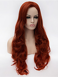 Europe and the United States New Brown Red Partial Long Curly High Roses High Temperature Wire Wig 28inch