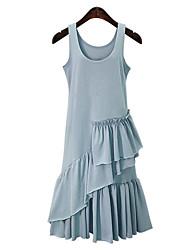 Balançoire Robe Femme Grandes Tailles Chic de Rue,Couleur Pleine Col en U Midi Sans Manches Coton Eté Taille Normale Micro-élastique Moyen