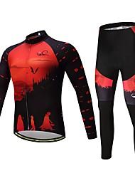 Fahrradtrikots mit Fahrradhosen Unisex Langarm Fahhrad Kleidungs-Sets warm halten Dick Polyester Silikon Vlies LYCRA® Winter