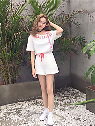 Damen Solide Druck Mit Mustern Freizeit lieblich Alltag Normal Ausgehen T-Shirt-Ärmel Hose Anzüge,Rundhalsausschnitt Frühling Sommer