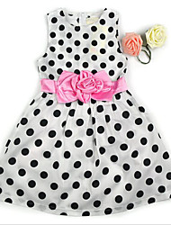 cheap -Girl's Polka Dot Floral Dress,Cotton Summer Sleeveless Floral Dot White Navy Blue