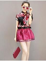 Chemisier Robes Costumes Femme,Imprimé Quotidien Décontracté Décontracté Eté Manches Courtes Col en V Micro-élastique