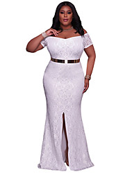 cheap -Women's Party Club Sexy Lace Dress,Solid Boat Neck Maxi Short Sleeves Polyester Spandex Summer High Rise Stretchy Medium