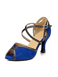 Da donna Balli latino-americani Finto camoscio Tacchi Per interni Quadrato Blu 7,5 - 9,5 cm 5 - 6,8 cm Personalizzabile
