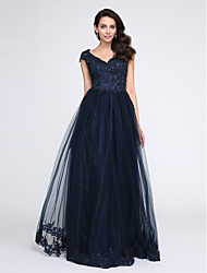 A-Line V-neck Floor Length Tulle Prom Formal Evening Dress with Beading Appliques by TS Couture®