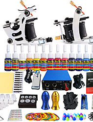 starter tattoo kits 2 cast iron machine liner & shader LCD power supply5 x tattoo needle RL 3 5 x tattoo needle RL 5 5 x tattoo needle RS