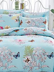 cheap -Floral/Botanical 4 Piece Cotton Cotton 1pc Duvet Cover 2pcs Shams 1pc Flat Sheet