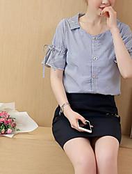 Feminino Camisa Saia Conjuntos Casual Casual Verão,Sólido Colarinho Chinês Manga Curta Micro-Elástica